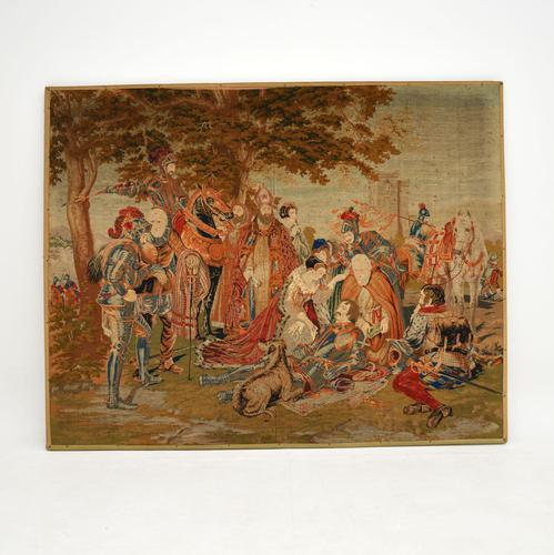 Antique Hand Stitched Needlepoint Tapestry (1 of 9)