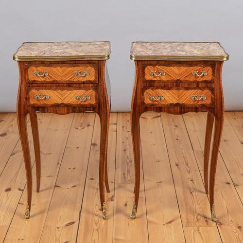 Pair of French Walnut & Kingwood Bedside Cabinets (1 of 8)