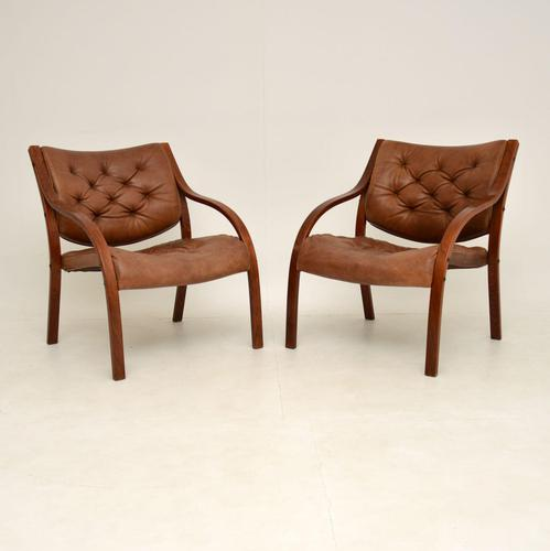 Pair of Scandinavian Bentwood & Leather Vintage Armchairs (1 of 14)
