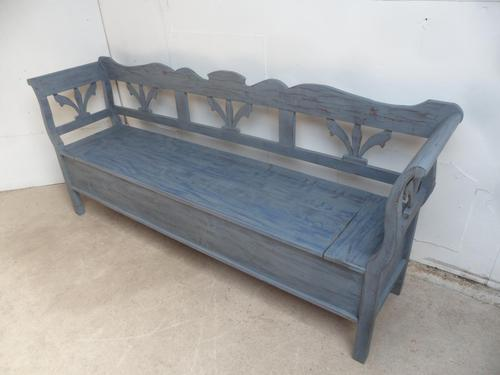 Lovely Grey / Blue 3-4 Seater Antique Pine Kitchen / Hall Box Settle / Bench (1 of 10)