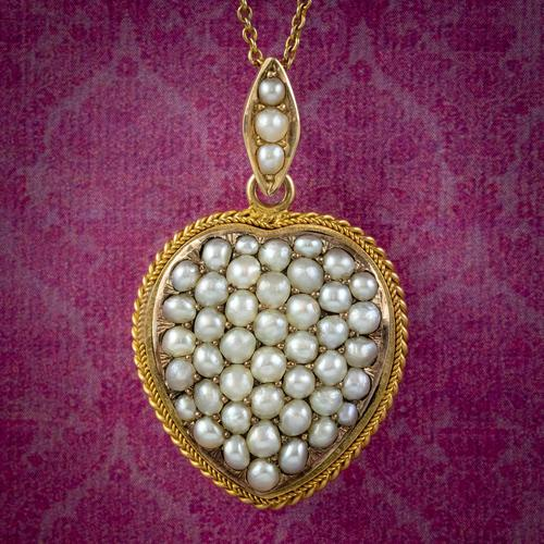 Antique Victorian Natural Pearl Heart Pendant Necklace 18ct Gold Circa 1880 (1 of 7)