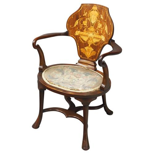 George III Style Inlaid Mahogany Side Chair (1 of 9)