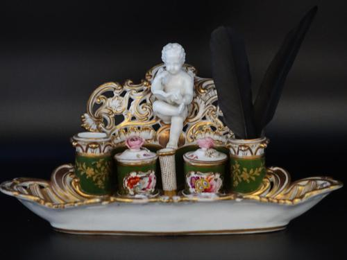 Very Fine & Rare Late 19th Century Continental Porcelain Encrier (1 of 6)