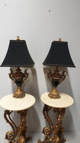 Pair of Gilt & Black Table Lamps (1 of 6)