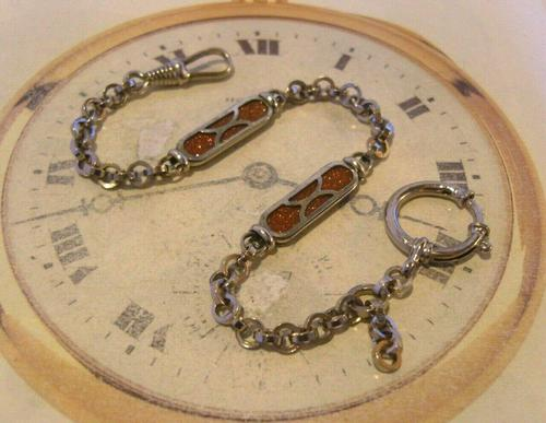 Pocket Watch Chain 1930s German Art Deco Silver Chrome & Goldstone Albert Nos (1 of 12)