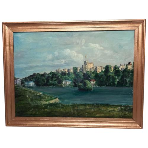 "Fine 20th Century Oil Painting Royal Windsor Castle ""View From The Thames"" (1 of 12)"