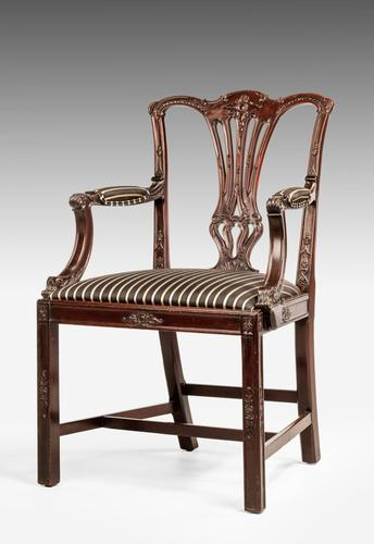 Chippendale Style Mahogany Elbow Chair (1 of 5)
