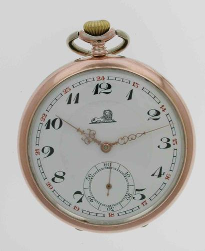 Silver 0.800 Mint Pocket Watch With Lion on  Dial Case and Movement - Swiss 1930 (1 of 6)