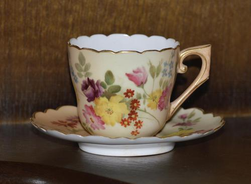 Royal Worcester Hand Painted Blush Ivory Miniature Cup and Saucer 1898 (1 of 6)