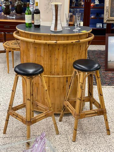 Retro French Bamboo Cocktail Bar & Stools (1 of 8)