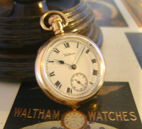 Antique Waltham Pocket Watch 1909 Ladies 7 Jewel 9ct Gold Filled Case With Curious Inscriptions Fwo (1 of 12)