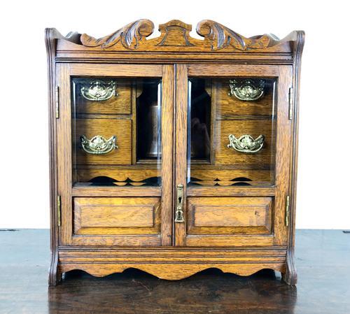 Antique Edwardian Oak Smoker's Cabinet (M-1571) (1 of 12)