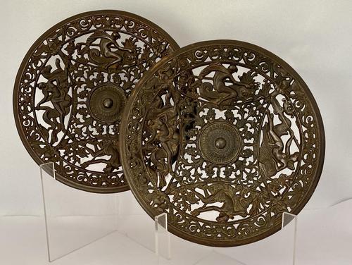 Pair of 19th Century Coalbrookdale Cast Iron Plates c.1880 (1 of 6)