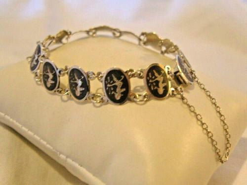"Vintage Sterling Silver Enamel Bracelet 1960s Goddess of Love 7"" Length 9.1 Grams (1 of 12)"