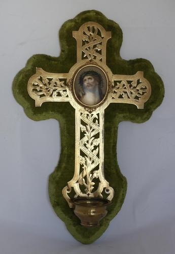 19th Century French Wall Stoup Cross (1 of 7)