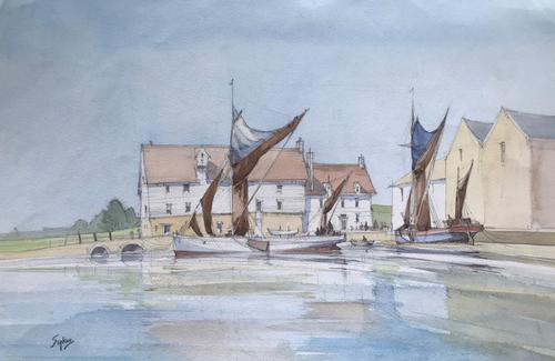 Original watercolour 'Norfolk wherries at Pin Mill' by Aubrey Sykes.1910-1995 (1 of 1)