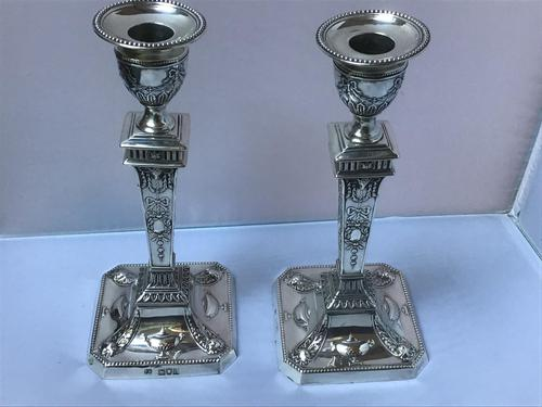 Fine Pair Solid Silver Victorian Candlesticks (1 of 7)