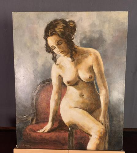 Mid Century Signed Oil on Canvas Female Nude (1 of 6)