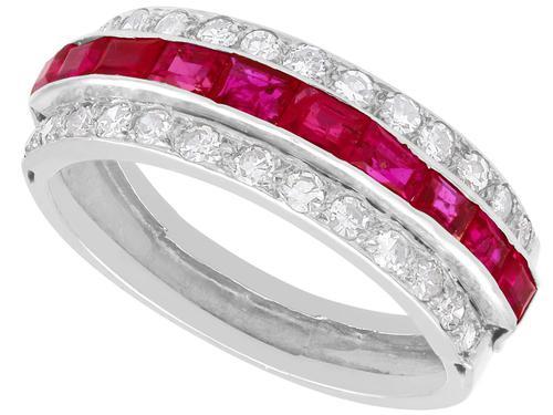 1.06ct Ruby & 0.89ct Diamond, Platinum Ring - Antique c.1890 (1 of 9)
