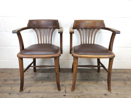 Pair of Early 20th Century Oak & Leather Desk Chairs (1 of 10)