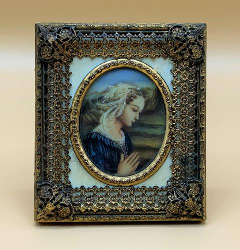 Fabulous early 1900s Italian Miniature Oil Portrait Painting - Stunning Frame!' (1 of 11)