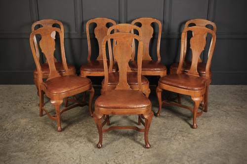 8 Oak & Leather Queen Anne Style Dining Chairs c.1920 (1 of 6)