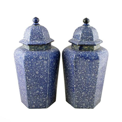 Pair of Chinese Style Vases & Lids (1 of 8)