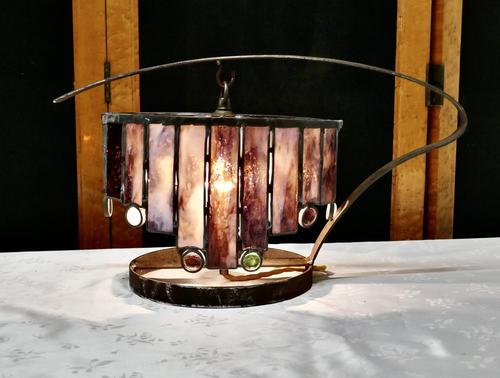 French Arts and Crafts Amethyst Leaded Glass Table Lamp (1 of 8)
