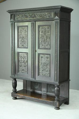 Antique Large Dark Oak Cupboard (1 of 13)