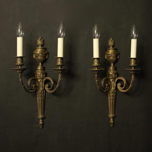 French Pair of Bronze Antique Wall Sconces (1 of 10)