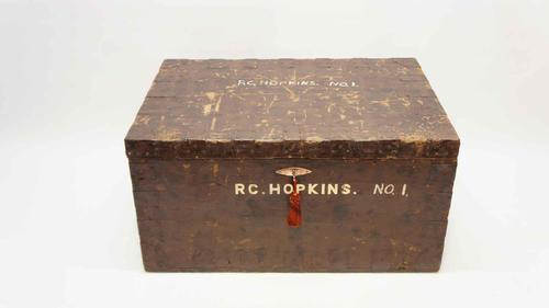 Victorian pine metal bound  pine travelling trunk c/w lock & key (1 of 10)
