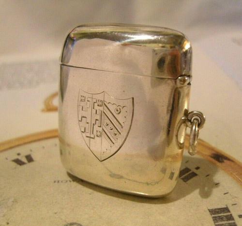 Antique Silver Vesta Case 1899 Victorian With Coat Of Arms Maker Hunsley & Co (1 of 9)