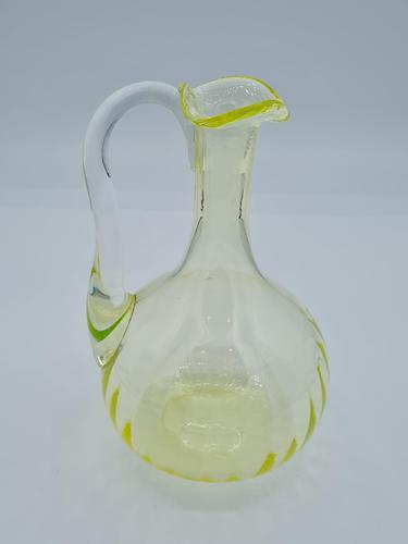 Antique Bohemian Czech  Vaseline Uranium Glass Jug (1 of 8)