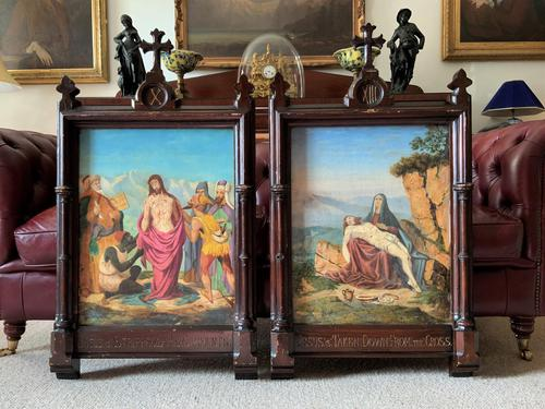 Pair of 19th Century Religious Old Master Oil Paintings - Set of 14 Available (1 of 32)