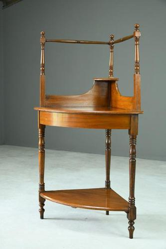 Stained Pine & Beech Corner Washstand (1 of 8)