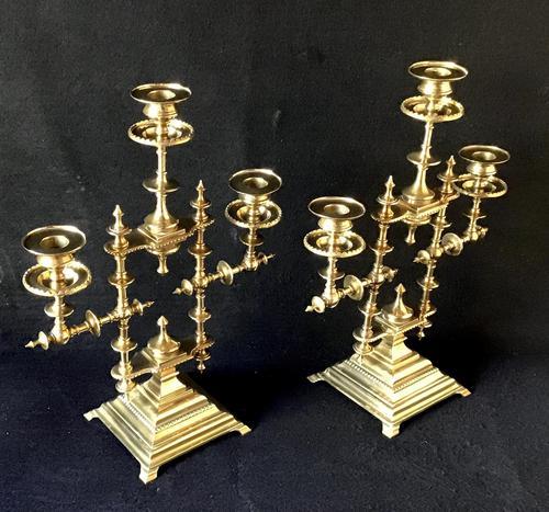 Pair of Heavy Brass Aesthetic Movement Three Branch Candelabra. (1 of 8)