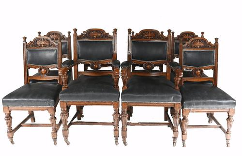 Set of 8 Farmhouse Dining Chairs English Oak Rustic (1 of 9)