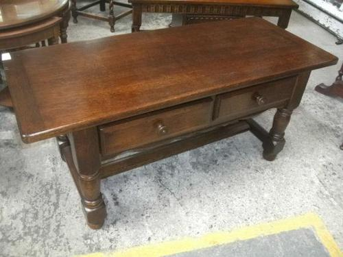 Solid Oak 2 Drawer Coffee Table (1 of 2)