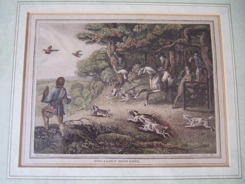 "Late 18th Century Etching ""Pheasant Hawking"" by Samuel Howitt (1 of 6)"
