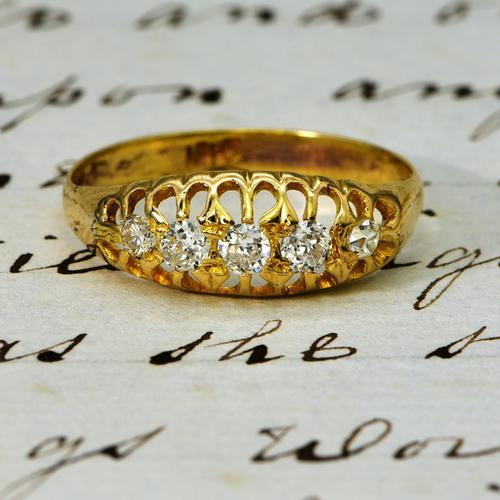The Antique Edwardian Five Diamond Claw Set Ring (1 of 4)
