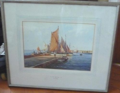 Watercolour by A D Bell 'Off Brixham (1 of 1)