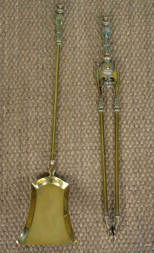 Antique Victorian Brass Fire Tools (1 of 4)