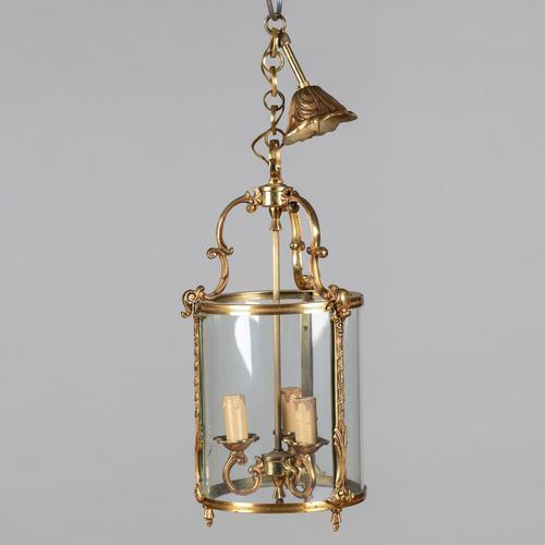 Large French Brass Hanging Lantern (1 of 4)