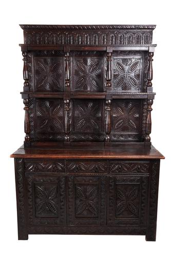 Large 18th Century Antique Carved Oak Dresser c.1740 (1 of 8)