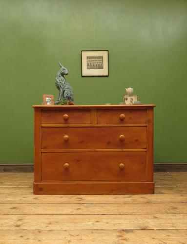 Victorian Wide Pine Chest of Drawers (1 of 11)