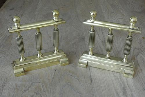 Quality Pair of Victorian William Tonks Brass Fire-dogs Fire Iron Rest Andirons c.1880 (1 of 5)