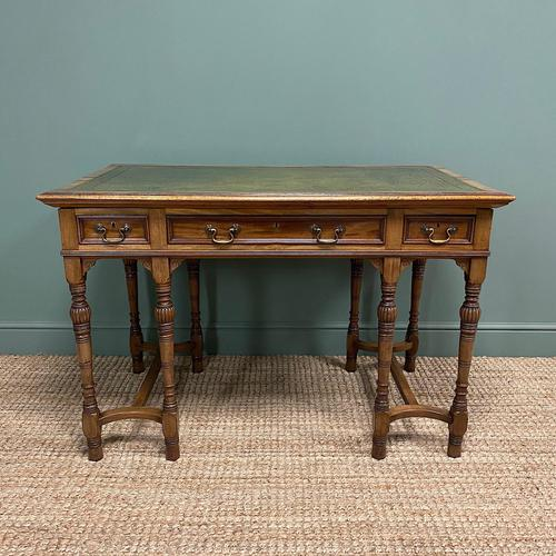 Stunning Victorian Arts & Crafts Walnut Antique Desk (1 of 8)