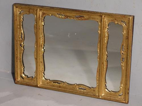 Three Part 19th Century Period Giltwood Mirror (1 of 3)