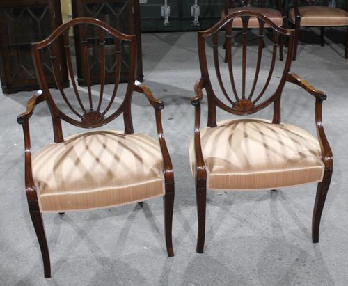 1960s Pair of Mahogany Shieldback Carver Chairs Pale Pink (1 of 3)