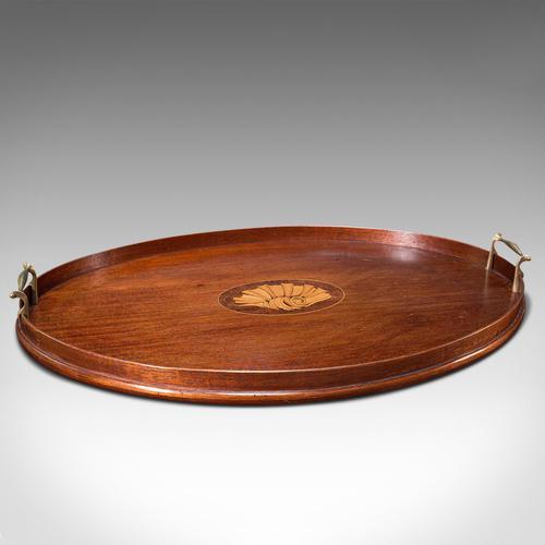 Antique Serving Tray, English, Mahogany, Brass, Boxwood Inlay, Georgian c.1800 (1 of 10)